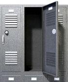 Grey School Lockers Perspective — Stock Photo