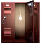 Red School Lockers With Light Bulb Inside Front — Stock Photo