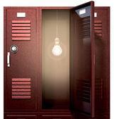 灯泡内前面红色学校储物柜 — 图库照片