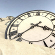 Antique Clocks In Desert Sand Closeup — Stock Photo