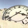 Antique Clocks In Desert Sand Closeup — Stock Photo