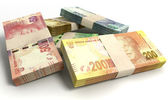 South African Rand Notes Bundles Stack — Stock Photo