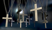 Hanging Crucifixes Far — Stock Photo