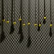 图库照片: Microphones Dangling On Sound Proof Acoustic Foam