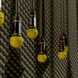 Microphones Dangling On Sound Proof Acoustic Foam — Стоковая фотография