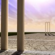 Cricket Wickets On Pitch Horizon Both Perspective — Stock Photo #26399967