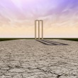 Cricket Wickets On Pitch Horizon — Stock Photo #26399975