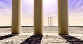 Cricket Wickets On Pitch Horizon Both Straight — Stock Photo