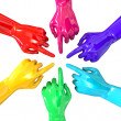 Hands Colorful Circle Pointing Inward Top — Stock Photo