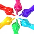 Stock Photo: Hands Colorful Circle Pointing Inward Top