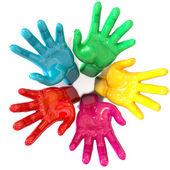 Hands Colorful Circle Reaching Skyward — Stock Photo