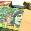 liasses de notes dollar australien empilent extreme closeup — Photo