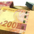South African Rand Notes Bundles Stack Extreme Close — 图库照片