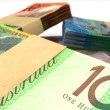 Australian Dollar Notes Bundles Stack Extreme Closeup — ストック写真