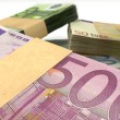 Euro Notes Bundles Stack Extreme Closeup — 图库照片