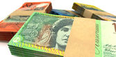 Australian Dollar Notes Bundles Stack Extreme Closeup — Stock Photo