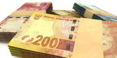 South African Rand Notes Bundles Stack Extreme Close — Stock Photo