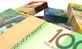 Australian Dollar Notes Bundles Stack Extreme Closeup — Stock Photo