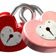 Stock Photo: Heart Shaped Padlocks Linked Front