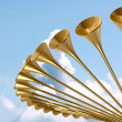 Heavenly Medieval Trumpet Circle And Sky — Stock Photo