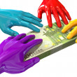 Hands Colorful Grabbing At Euro Notes — Stock Photo