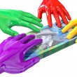 Hands Colorful Grabbing At Australian Dollars — Stock Photo
