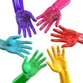 Hands Colorful Circle Reaching Inwards — Stock Photo