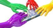 Hands Colorful Grabbing At South African Rands — Stock Photo