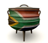 South African Potjie Pot Painted Flag — Stock Photo