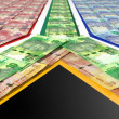 Stock Photo: South AfricRand Notes Flag