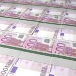 Euro Bill Bundles Laid Out — Stock Photo