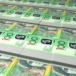 Australian Dollar Bill Bundles Laid Out — Stock Photo