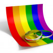Save The Date Rings And Gay Paper — Stock Photo