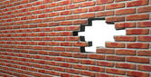 Face Brick Wall With Hole — Stock Photo