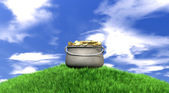 Pot Of Gold On Grassy Hill — Stock Photo