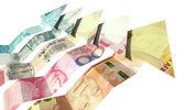 Brics Arrrow Notes Rising — Stock Photo