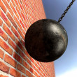 Wrecking Ball Hitting Wall — Stock Photo #38968333