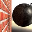 Stock Photo: Wrecking Ball Hitting Wall