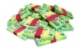 Australian Dollar Notes Scattered Pile — Stock Photo
