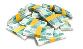 Ruble Notes Scattered Pile — Stock Photo