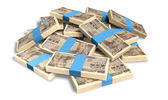 Yen Notes Scattered Pile — Stock Photo