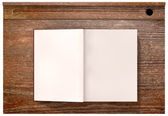 Vintage School Desk Top With Open Blank Book — Stock Photo