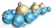 Ornate Matte Gold And Blue Christmas Baubles — Stock Photo