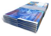 Swiss Franc Notes Bundles — Stock Photo