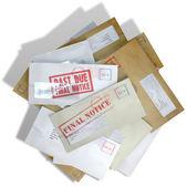 Debt Envelope Scattered Stack — Stockfoto