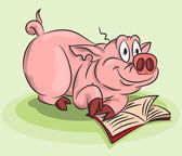 A pig with a book — Stock Vector