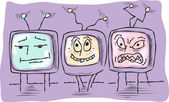 Three funny television — Stock Vector