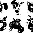 Silhouettes of animals - a dog, bird, cat, pig, horse, goat - Stock Vector