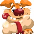 Royalty-Free Stock Vektorfiler: Fat cartoon dog with a bone