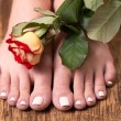 Female feet with spa pedicure and rose — Stock Photo